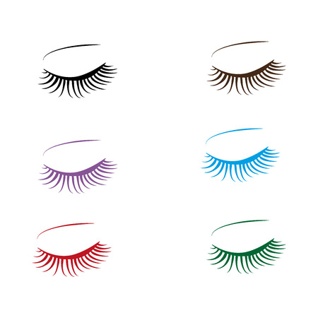 bunte Wimpern und Augenbrauen