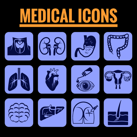 Icons set premium quality of medicine. Modern pictogram collection flat design style symbol collection. Isolated blue background.