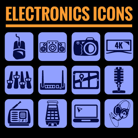 multimedia pictogram: Icons set premium quality of electronics and multimedia. Modern pictogram collection flat design style symbol collection. Isolated blue background.