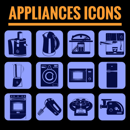 gas cooker: Icons set premium quality of appliances . Modern pictogram collection flat design style symbol collection. Isolated blue background.