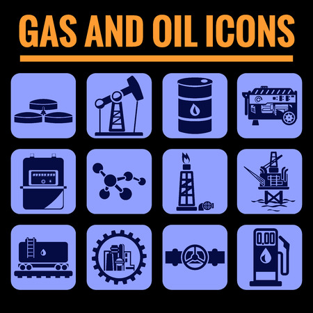 biogas: Icons set premium quality of Oil and gas . Modern pictogram collection flat design style symbol collection. Isolated blue background.
