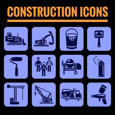 reamer: Icons set premium quality of construction . Modern pictogram collection flat design style symbol collection. Isolated blue background.