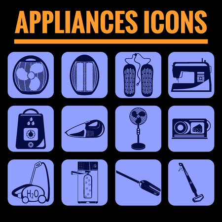 dry flies: Icons set premium quality of appliances . Modern pictogram collection flat design style symbol collection. Isolated blue background.