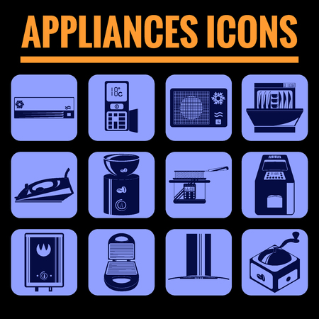 fryer: Icons set premium quality of appliances. Modern pictogram collection flat design style symbol collection. Isolated blue background. Illustration