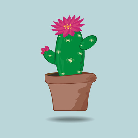mexico beach: cactus with a flower on a green background Illustration