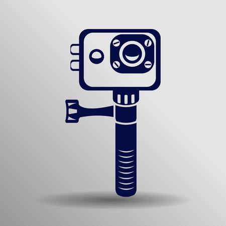 waterproof: Action camera icon - black vector extreme video cam symbol in waterproof case