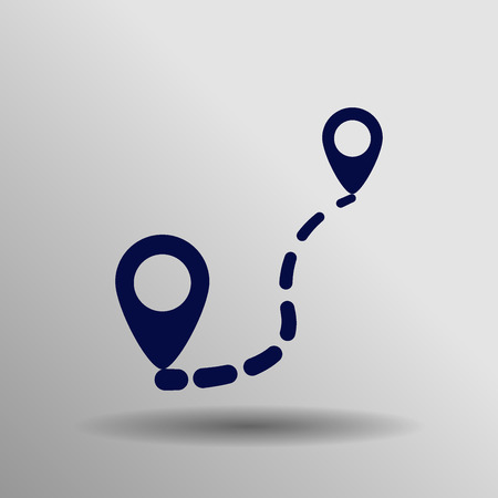 localization: Route Icon in trendy flat style isolated on grey background. Localization symbol for your web site design, , app, UI. Vector illustration,