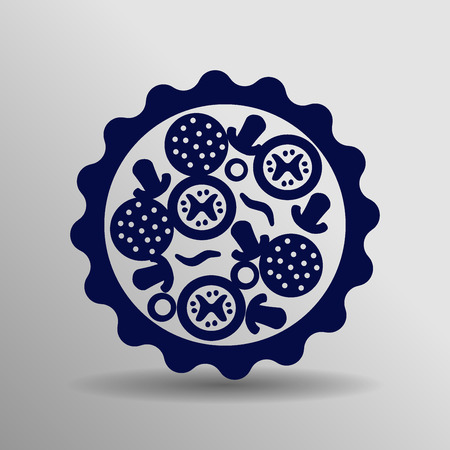 blue Pizza Icon button symbol concept high quality on the gray background