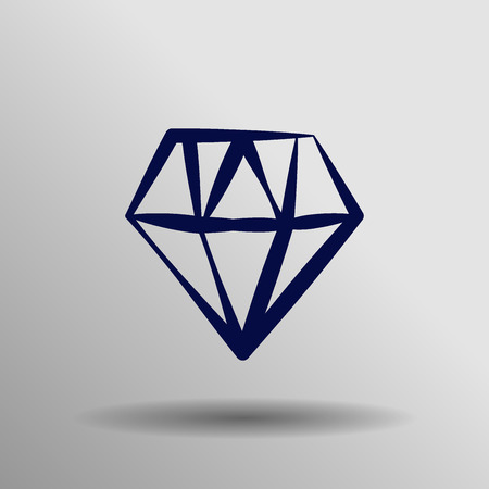 blue diamond: blue diamond Icon button symbol concept high quality on the gray background Illustration