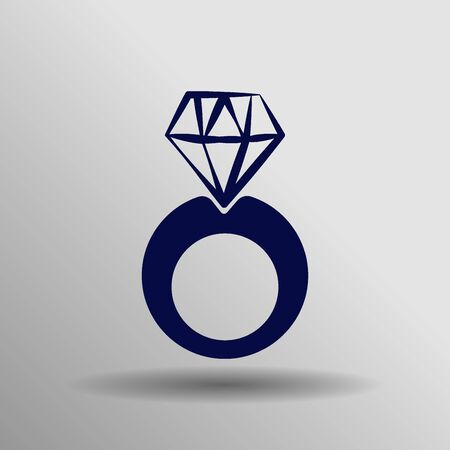 blue diamond: blue diamond ring Icon button symbol concept high quality on the gray background