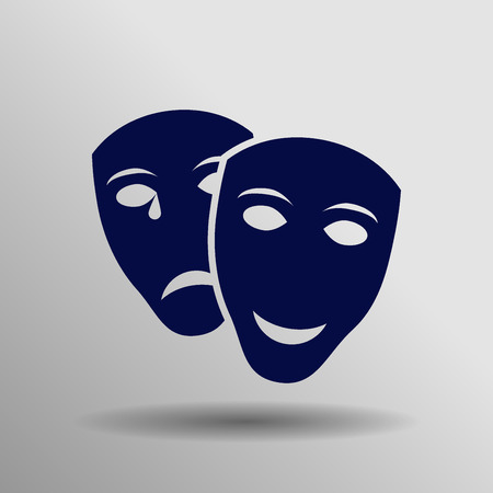 comedy show: blue Theater icon button symbol concept high quality on the gray background