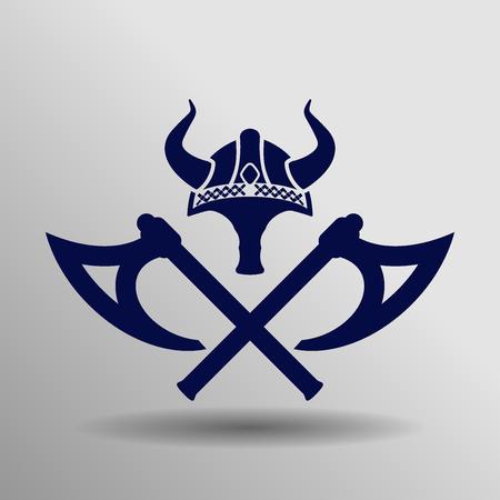modrá viking Ikona tlačítko symbol koncept vysoká kvalita na šedém pozadí Ilustrace