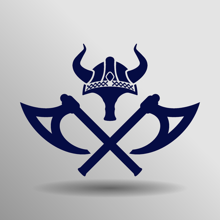 blue viking Icon button symbol concept high quality on the gray background