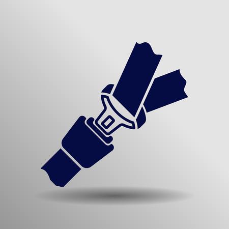 cinturon seguridad: azul del cinturón de seguridad botón del icono del concepto del símbolo de alta calidad en el fondo gris Vectores