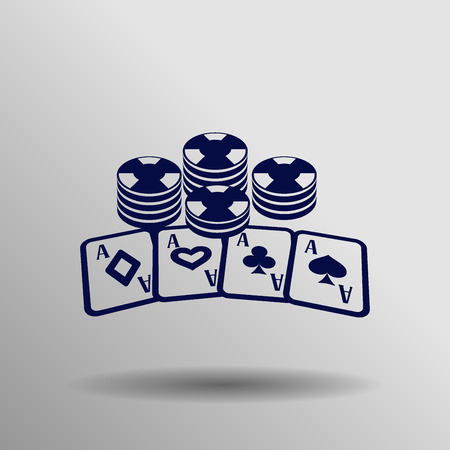 blue Poker icon button symbol concept high quality on the gray background Illustration