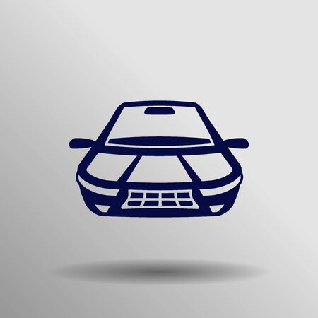 miles: blue Car Icon button symbol concept high quality on the gray background