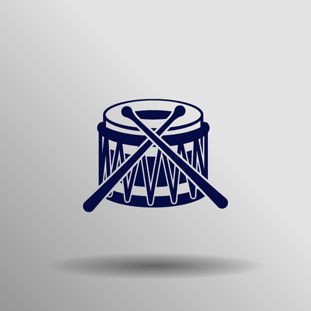 blue Drum Icon button symbol concept high quality on the gray background Illustration