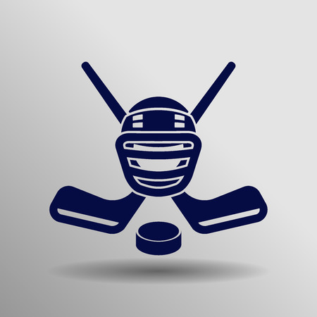 blue Hockey icon button  symbol concept high quality on the gray background