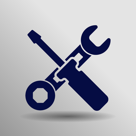 blue Work tool Icon button  symbol concept high quality on the gray background Illustration