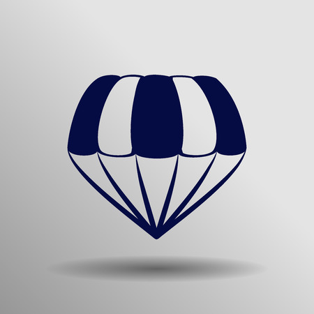 blue parachute icon button  symbol concept high quality on the gray background Illustration