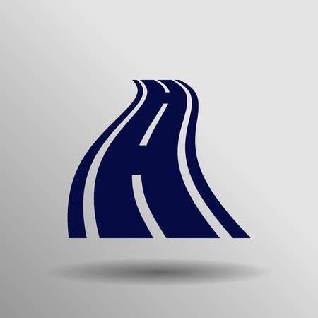 bitumen: blue curved road icon button  symbol concept high quality on the gray background