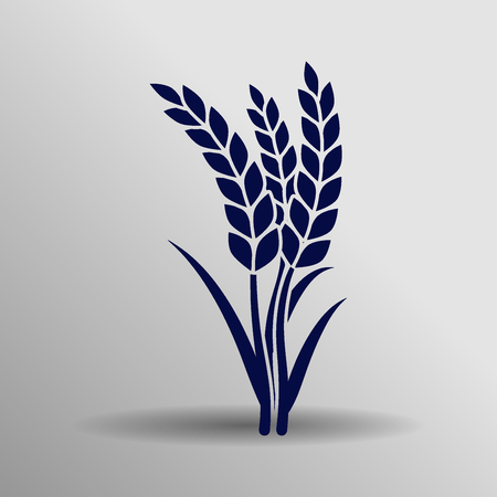 blue wheat iconbutton  symbol concept high quality on the gray background Illustration