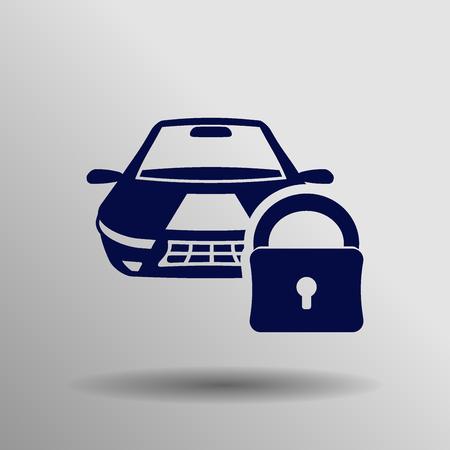 car lock: blue Car lock iconbutton  symbol concept high quality on the gray background Illustration
