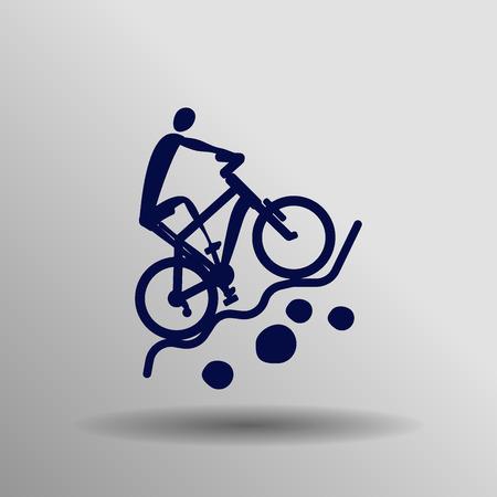 mountain biking: blue Mountain biking icon button  symbol concept high quality on the gray background Illustration