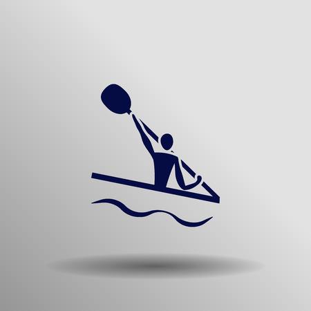 slalom: blue Canoe kvayak (slalom) icon button  symbol concept high quality on the gray background