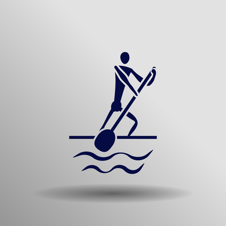 blue Canoe kayak (sprint) icon button  symbol concept high quality on the gray background Illustration