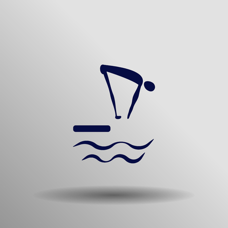 jumping into water: blue Diving icon button  symbol concept high quality on the gray background