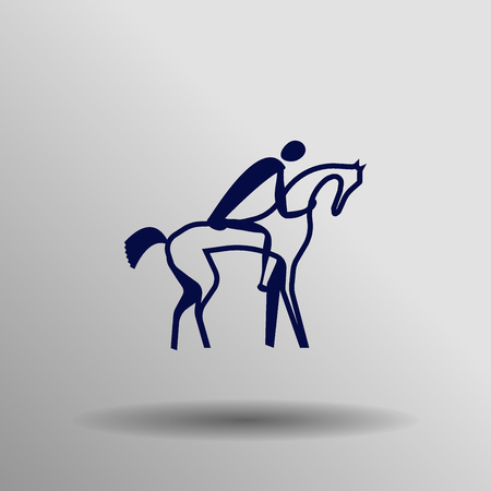 dressage: blue Equestrian Jumping Eventing Dressage icon button  symbol concept high quality on the gray background