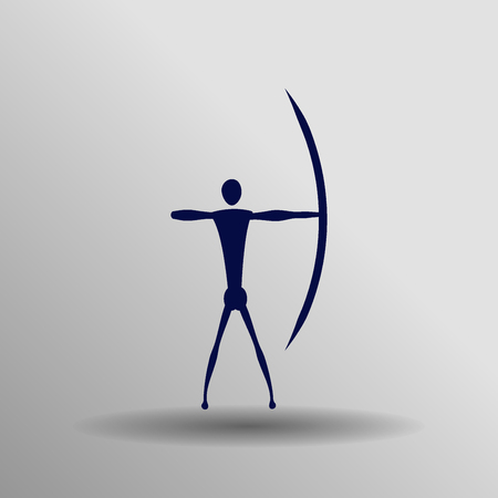 blue Archery icon button  symbol concept high quality on the gray background