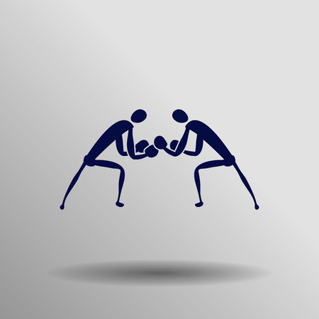 blue Boxing icon button  symbol concept high quality on the gray background Illustration