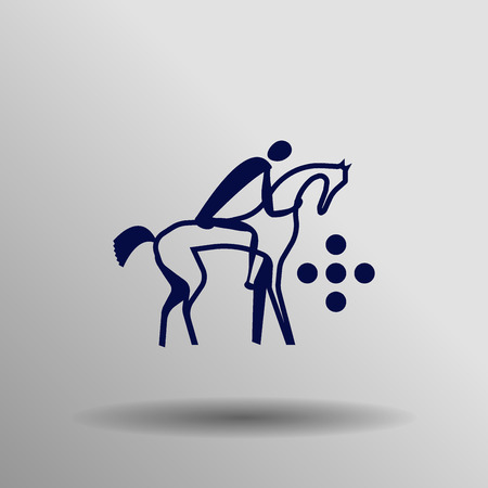 pentathlon: blue Modern pentathlon icon button  symbol concept high quality on the gray background