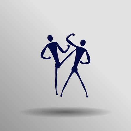 kwon: blue Taekwondo icon button  symbol concept high quality on the gray background Illustration