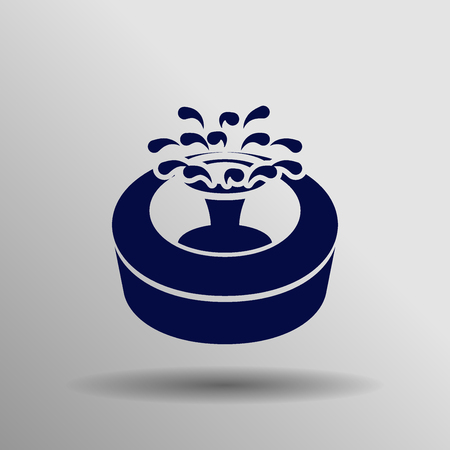 blue Fountain Icon button   symbol concept high quality on the gray background