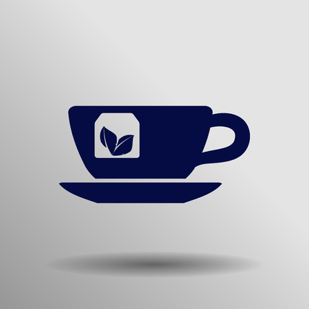 teaparty: blue tea cup Icon button  symbol concept high quality on the gray background