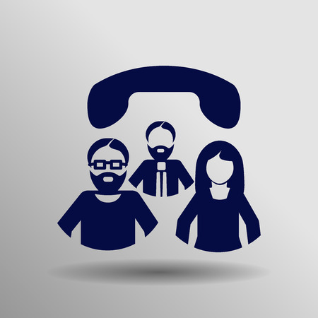 blue Conference call Icon button  symbol concept high quality on the gray background Illustration