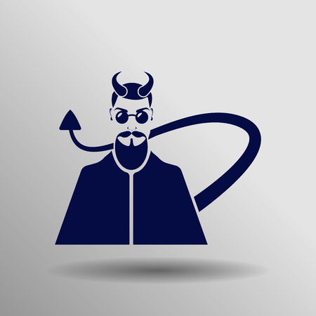 hades: blue Devil Icon button  symbol concept high quality on the gray background