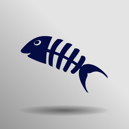 fishbone: blue Fish bone icon button  symbol concept high quality on the gray background