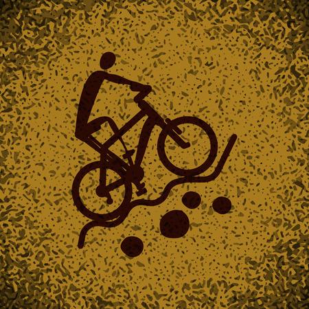 mountain biking: sport Mountain biking icon button  symbol concept high quality on brown background Rock background