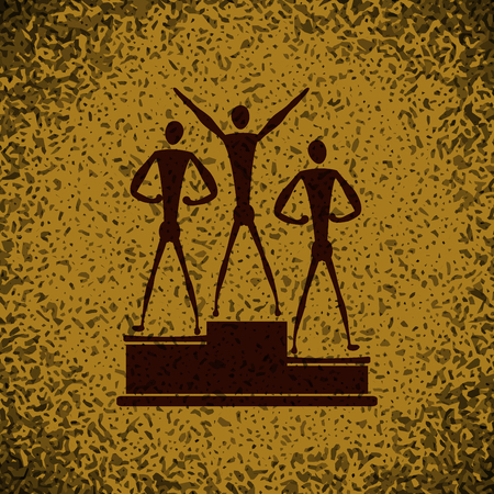 achievement clip art: sport Winners on pedestal icon button  symbol concept high quality on brown background Rock background Illustration