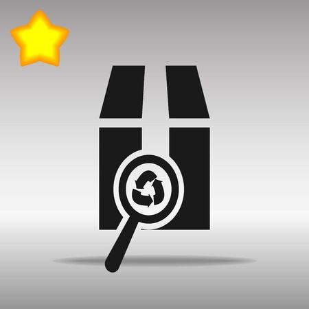 ean: black Magnifying glass scanning box Icon button logo symbol concept high quality on the gray background Illustration