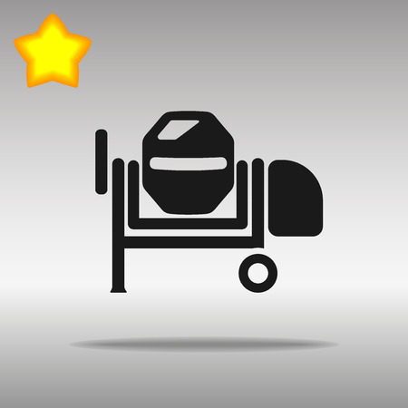 worksite: black Concrete mixer Icon button  symbol concept high quality on the gray background Illustration