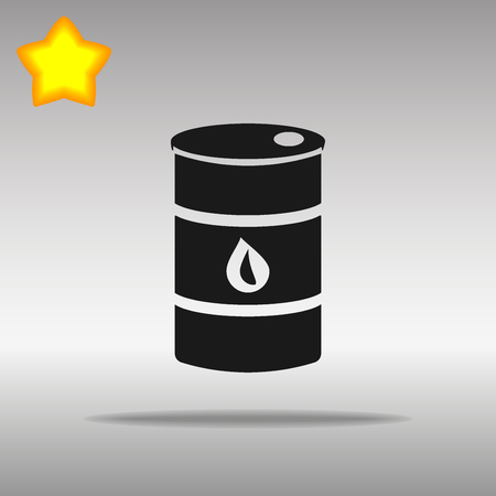 combust: black oil barrel Icon button  symbol concept high quality on the gray background Illustration