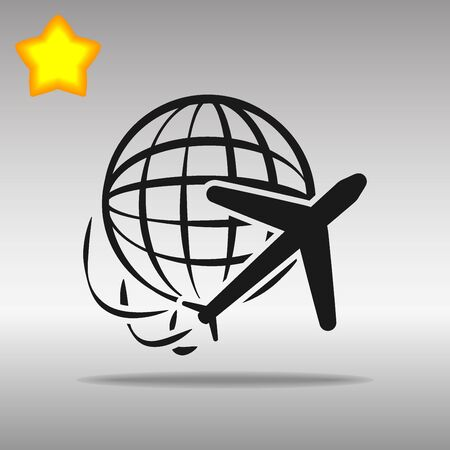 black Globe and plane travel Icon button   symbol concept high quality on the gray background