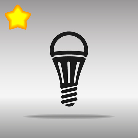 led lamp: black LED lamp Icon button  symbol concept high quality on the gray background