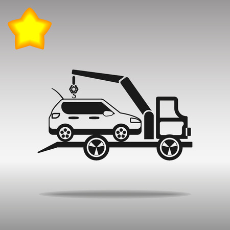 the wrecker: black Car evacuator Icon button logo symbol concept high quality on the gray background