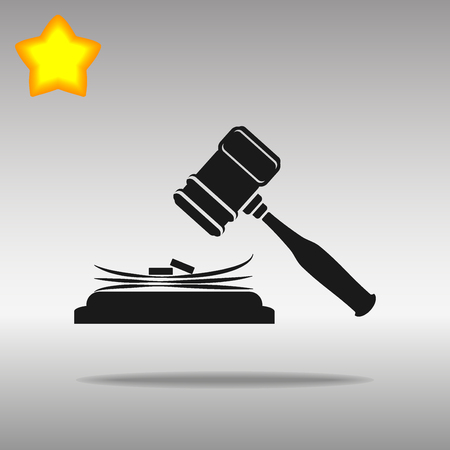 black judge gavel and stack of money Icon button logo symbol concept high quality on the gray background Illustration